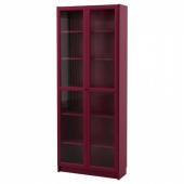 БИЛЛИ Шкаф книжный со стеклянными дверьми,темно-красный